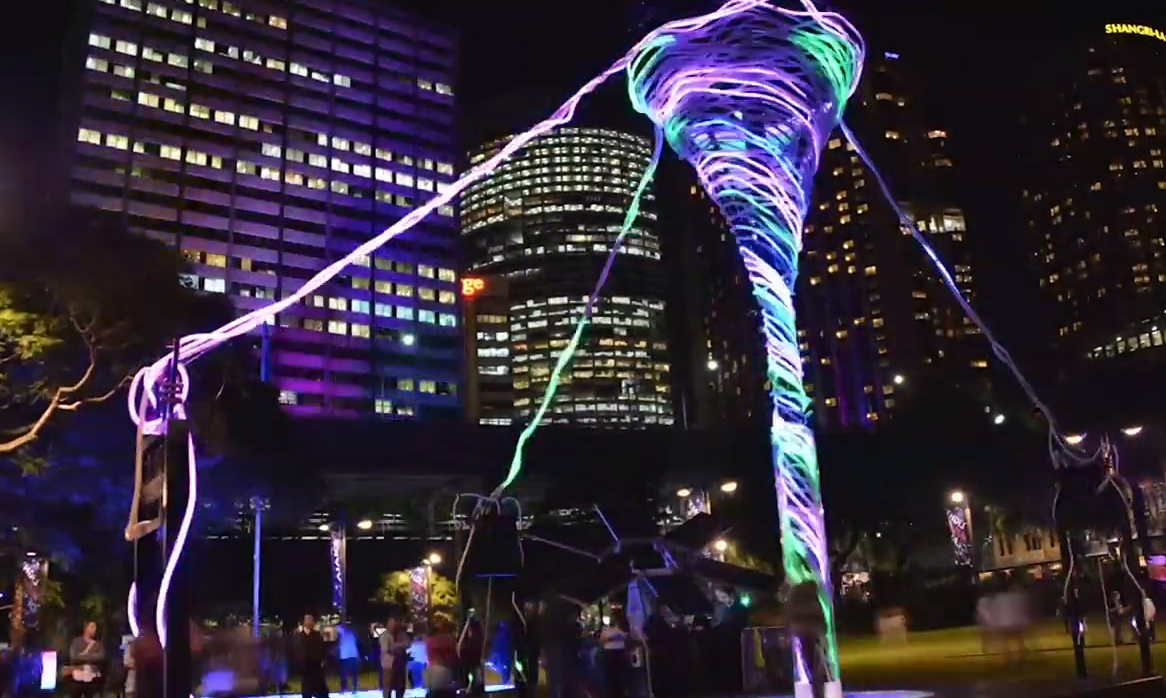 this solar powered tornado sculpture lights up and talks to you