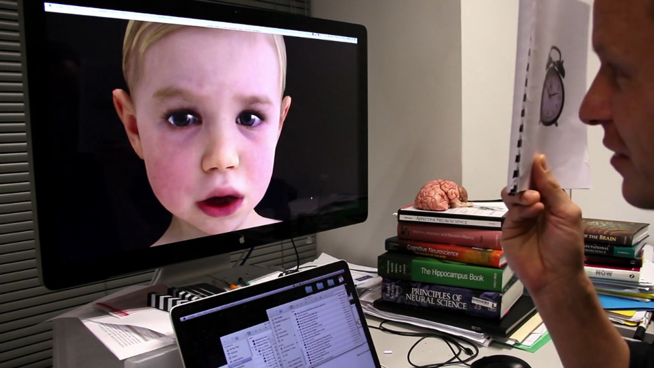 Baby X responds to stimuli provided by a researcher for the Auckland Bioengineering Institute Laboratory for Animate Technologies.