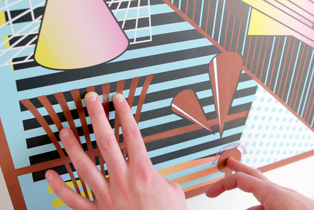 Interactive poster produces sound when touched the